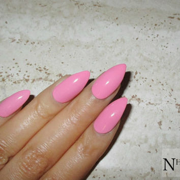Pink Stiletto Nails | Fake Nails | Press on Nails | Glossy / Matte Pointy Nails