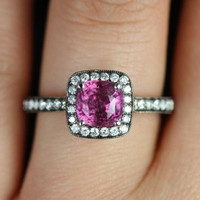 Monroe 14kt White Gold Black Rhodium Pave Cushion Halo Pink Sapphire Engagement Ring (Other metals and stone options available)