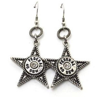 Silver Star Dangle Bullet Earrings