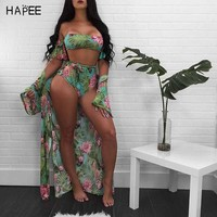 Off The Shoulder Women Print Frill Tie up Brazilian Bathing Suits Three Piece Bikini Set + Cover-up Sexy High Waist Swimwears