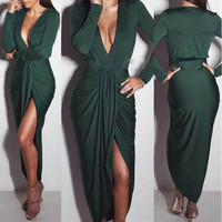 Deep V Neck Bodycon Sexy Womens Long Sleeve Draped Elegant Maxi Dress