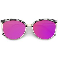 Retro Modern Mirrored Flat Lens Cat Eye Sunglasses C268