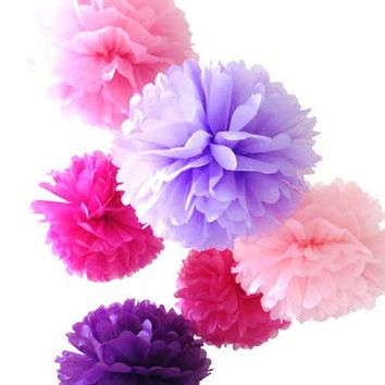 7 Mixed Large Sized Tissue Paper Pom Pom Ready To Ship Package | Shades of Purple