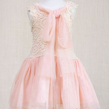 Nora Blush Lace Bow Tulle Girl's Dress