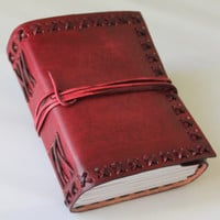 Luxury Classic Leather Journal Diary (Handmade) - Leather Cord Coptic Binding and leather tie closure