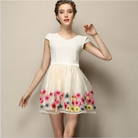 White And Beige Floral Print Cap-Sleeve A-Line Dress