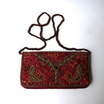 Vintage 1960s boho red brocade and brass and glass beaded evening bag