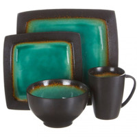 Ocean Paradise 16-Piece Square Reactive Dinnerware Set, Jade