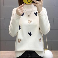 Women Knit Pullover Sweater 2018 New Autumn Winter Clothes Warm Half Turtleneck Long-sleeved Knitwear Tops Jumper Female AA372