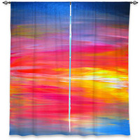 BRIGHT HORIZONS Ombre Red Yellow Blue Art Window Curtains Multiple Sizes Abstract Sunrise Decor Bedroom Kitchen Lined Unlined Woven Fabric