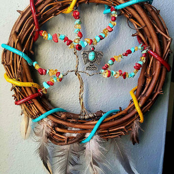 Wire Tree Of Life Dream Catcher Turquoise, Coral, Citrine