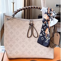 LV New fashion monogram print leather shoulder bag crossbody bag Apricot