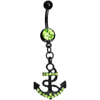 Light Green Gem Paved Black Anchor Dangle Belly Ring | Body Candy Body Jewelry