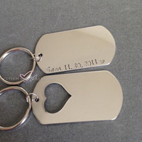 Dog Tag Keychains, Heart Dog Tag, Personalized Keychains, Couples Keychains, Personalized Gift, Stamped Keychains