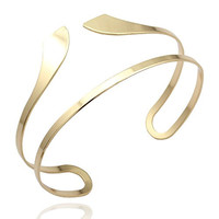 Gold Plated Q&Q Fashion Egypt Bar Curve Geo Open Upper Arm Cuff Armlet Armband Bangle Bracelet Gift