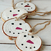 Wood Ornament, Tree Stump Christmas Ornament, Rustic Christmas Decorations, Christmas Wood Gift Tags,Hand Painted Wooden Christmas Ornaments