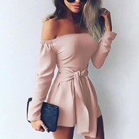 Rompers Womens Jumpsuit 2018 Autumn Playsuits Sexy Off Shoulder Slah Neck Casual Bodysuit Solid Long Sleeve Plus Size Overalls