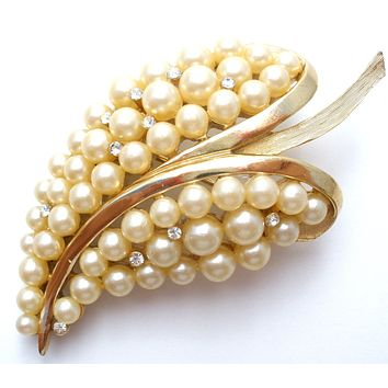 Crown Trifari Leaf Brooch with Pearls Vintage