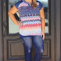 Flowers & Denim Sheer Top ~ Sizes 12-18