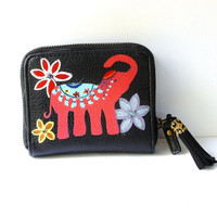 Boho Elephant Wallet Hand Painted Black Leather Bifold Bohemian Accessories