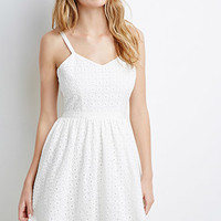 Tonal Floral-Embroidered Fit & Flare Dress