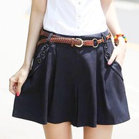Women Lady Sexy Shorts Summer Casual Shorts High Waist Short Bottom Skort +Belt