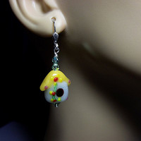 Yellow Red Green Bird House Lampwork and Crystal Earrings, Mothers Day Gift, Mom Sister Grandmother Bridesmaid Jewelry Gift,