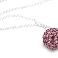 """.925 Sterling Silver Pink Crystal Ball Pendant Necklace 18"""""""