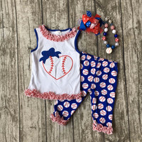 Summer design baby girls baseball print season heart boutique navy red ruffles cotton capri outfit clothes matching accessories