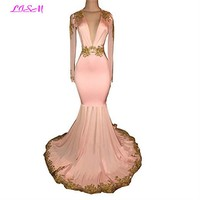 Sexy Open Back Pink Party Dresses Mermaid prom dresses Deep V Neck Long Sleeve Gold Applique formal dress long bridesmaid gowns