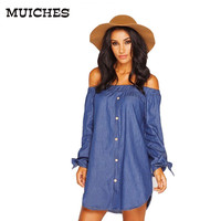 summer style Button vintage women denim dress long sleeve with Bow off the shoulder Loose fashion mini dresses