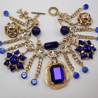 Repurposed Cobalt Blue Fringe Rhinestone Charm by Bella3Boutique