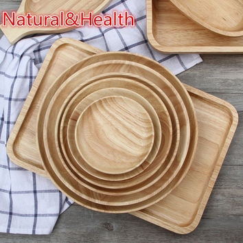 Wooden Food Party Serving Tray Dinner Plate Dish Creative Tableware Rubber Wooden Tray for Snacks Fruit Milk Logo Customized