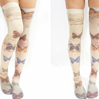 Lolita Butterfly Thigh High Stockings