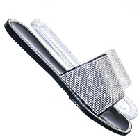 Jacelyn01 Rhinestone Crystal Jelly Slides - Womens Bling Embroidered Sandals