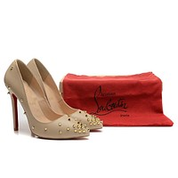 Christian Louboutin Nude Patent Leather Golden Nails High Heels 120mm