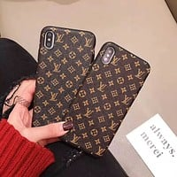 LV LOUIS VUITON Leather Fashion Cover Case for iPhone