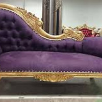 """Queen Anne"" French Orleans Silver Trimmed Purple Velvet Louis XVI Baroque Recamier Chaise Lounge Sofa"