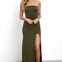 Enchanted Forest Olive Green Strapless Maxi Dress
