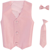 Pink Poly-Silk Boys Vest & Tie Set 3M-14