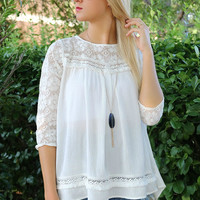 Shoreline Off White Quarter Sleeve Lace Detail Peasant Top