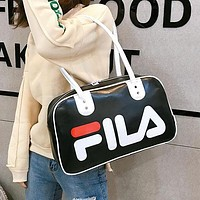 FILA 2019 new fashion personality letter printing couple models sports handbag Messenger bag black