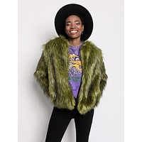 Jade Fox Faux Fur Bomber