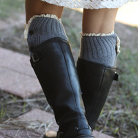 Legwarmers - Boho, 100% Wool, Grey, Button Up, Boot Cover, Socks, Crochet, Lace trim, Ivory Lace Trim, Christmas Gift,