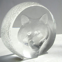 Vintage Mats Jonasson Raccoon Lead Crystal Paper Weight 3334 Signed