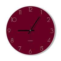 Wall Clock wine red clock home decoration wall art modern simple clock bedroom living room office clock for him for her gift ideas stylish