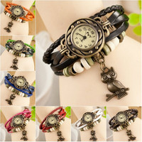 Fashion Women Leather Bracelet Owl Decoration Movement Quartz Wrist Watch New = 1932579332