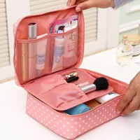 Portable Toiletry Cosmetic Bag Waterproof Makeup Make Up Wash Organizer Storage Pouch Travel Kit Bag Hand Brand Large-capacity
