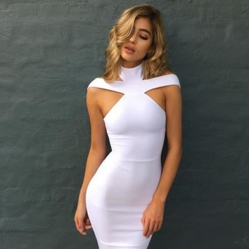 Fashion hang hollow out off-the-shoulder sexy cultivate one's morality show thin neck bandage dress