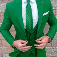 Gwenhwyfar 2018 Groom Tuxedos Green Prom Wedding Men Suit Slim Fit Cotton Blend Bespoke Formal Suits For Men (Jacket+Pants+Vest)